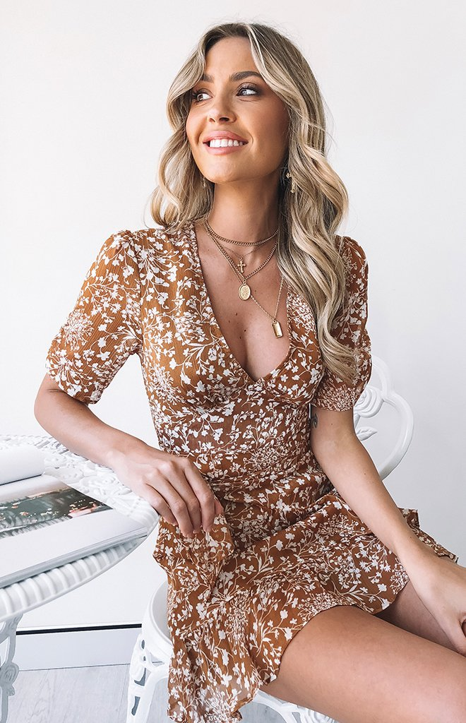Flower Dust Dress Tan
