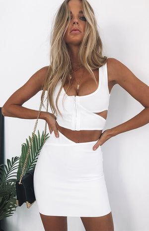 Yzi Bandage Crop White