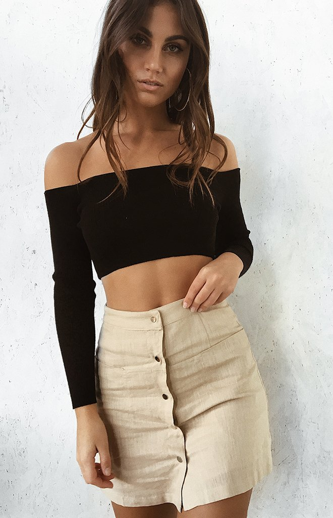 Chemical Reaction Long Sleeve Crop Black