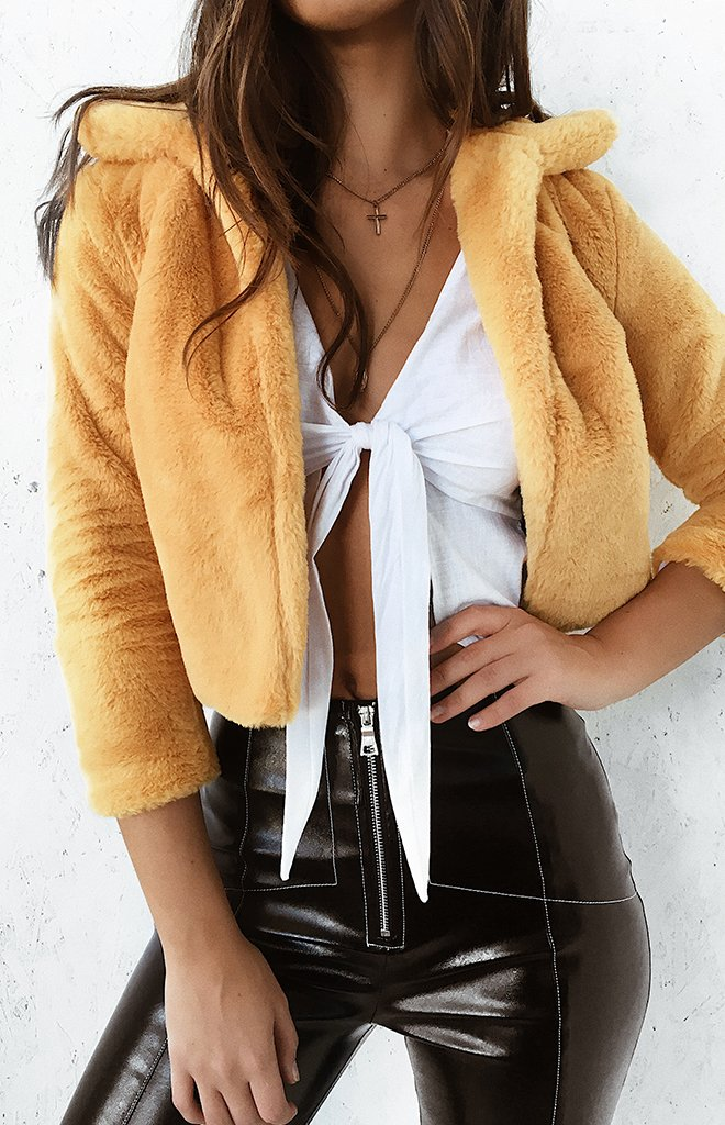 Into The Wild Faux Fur Jacket Mustard