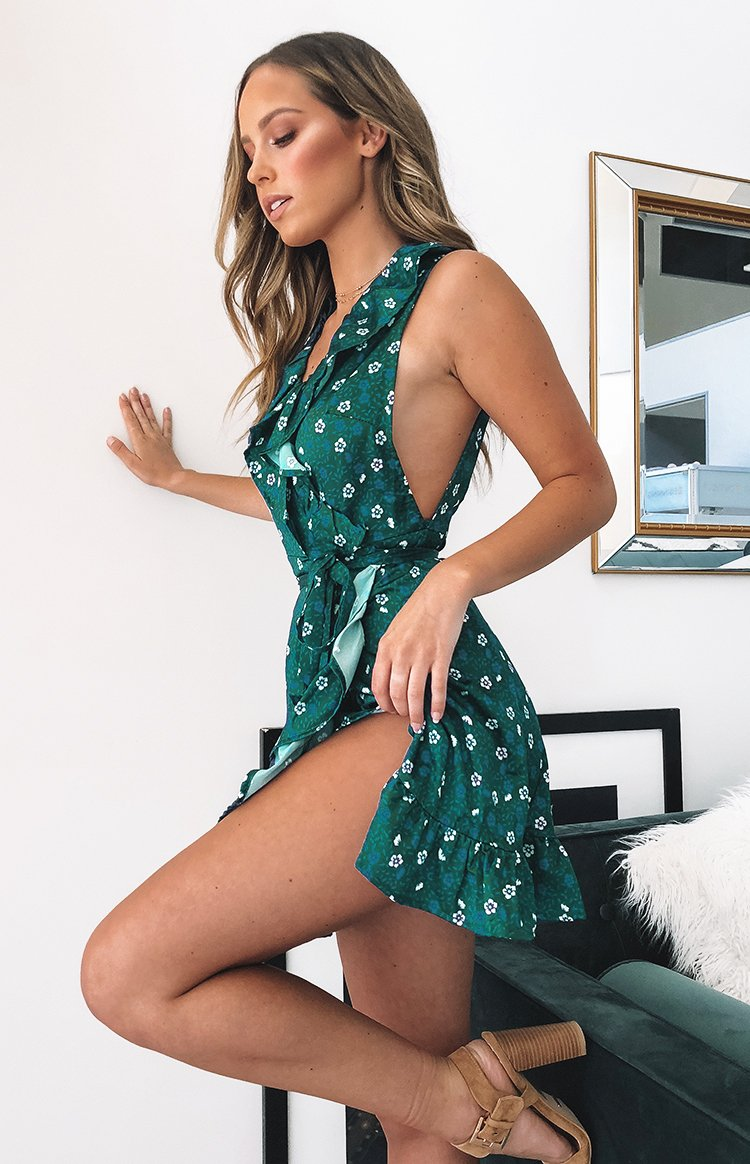 Stacey Wrap Dress Green Floral