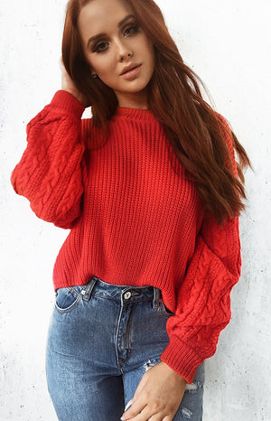 Caught Up Knitted Jumper Red