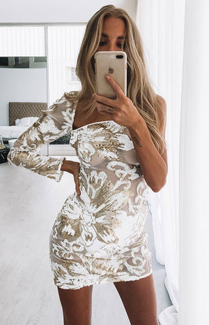 Vanessa One Sleeve Mini Dress Gold Sequin