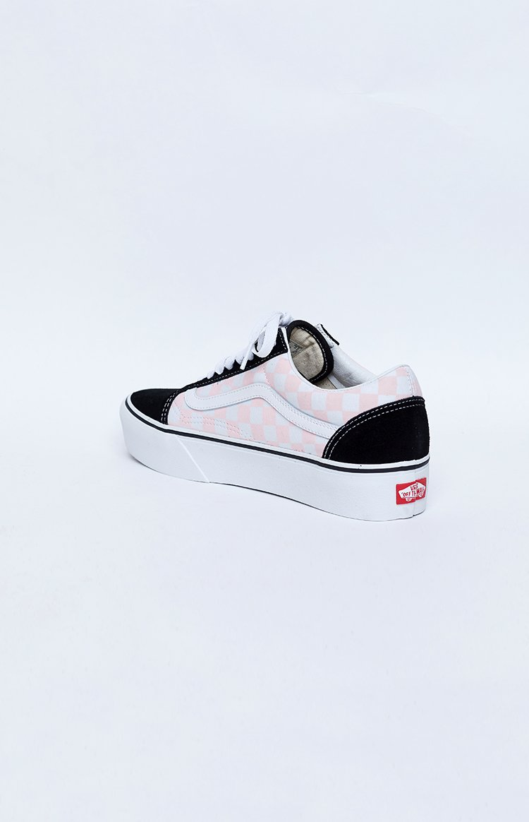Vans Old Skool Platform Sneakers Checkerboard Black & Pink Dogwood