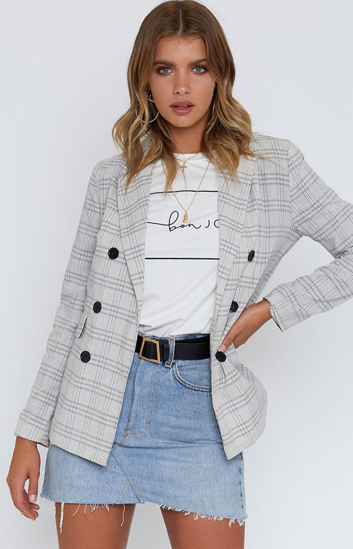 Miss President Jacket Beige Plaid