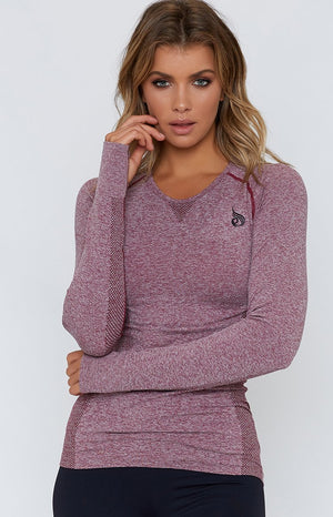 Ryderwear Womens Seamless Long Sleeve Top Burgundy Marle