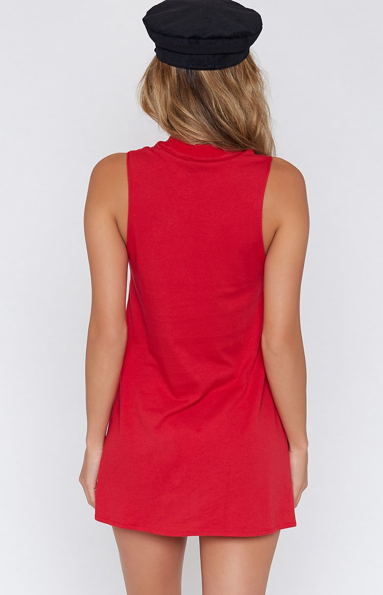 Afends Rebel Girl Bandcut Dress Cherry Red