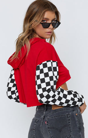 Hollaback Cropped Jumper Red & Check