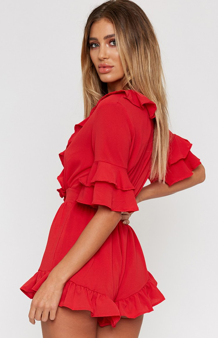 Heart On My Sleeve Playsuit Red