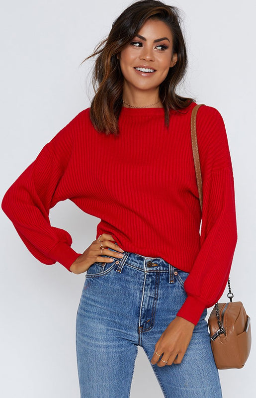 Hold Me Close Bell Sleeve Knit Red