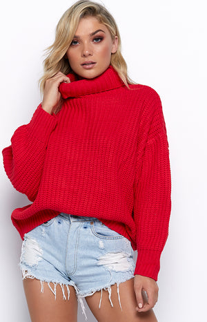 Hillary Oversized Knit Red