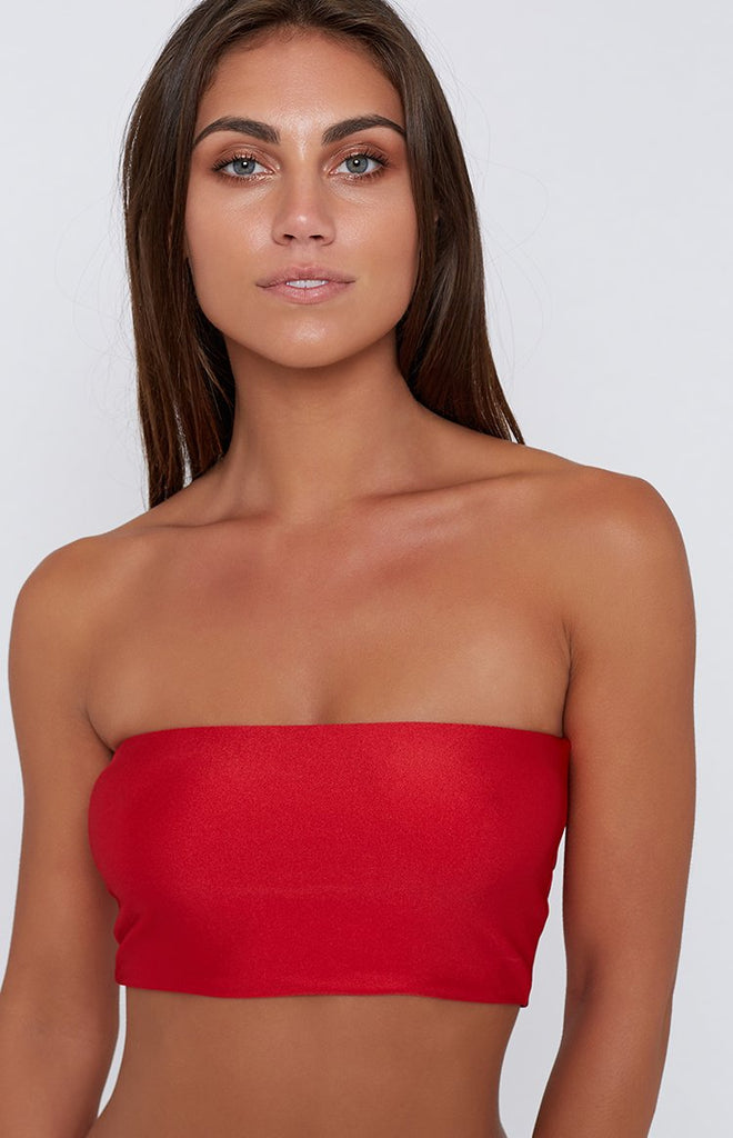 9.0 Swim Maya Bandeau Bikini Top Metallic Red
