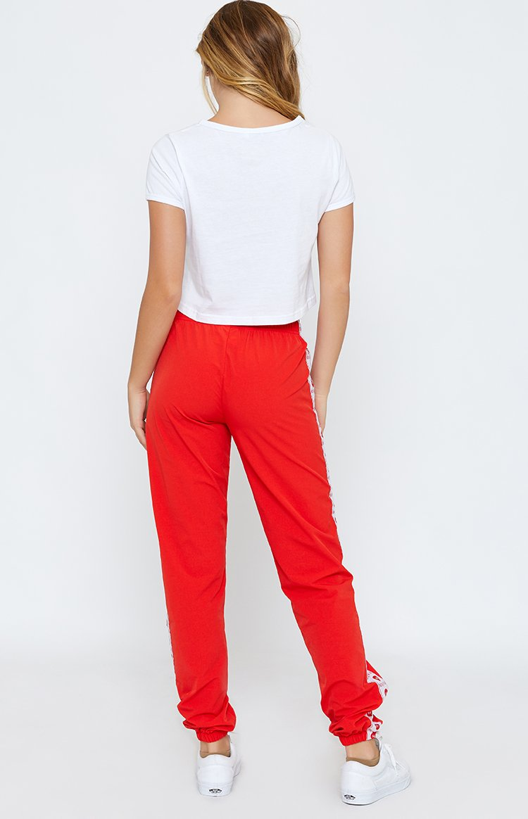 Nicky Kay Logo Track Pants Red + White
