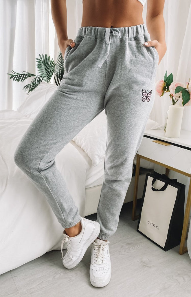 Stormi Butterfly Trackpants Dark Grey 11