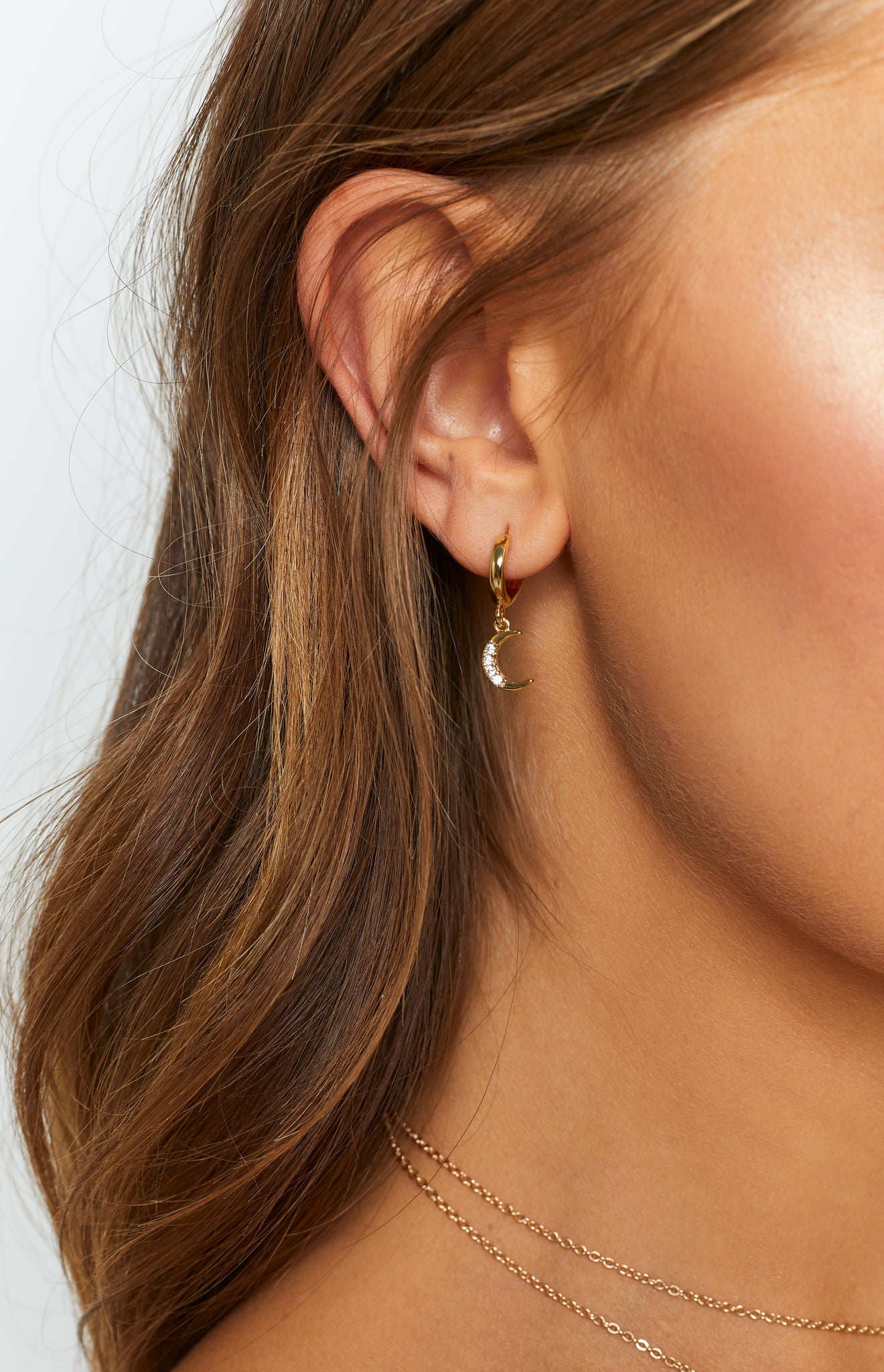 Eclat Nevaeh Star Moon Earrings Gold