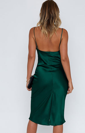 Schiffer Slip Midi Dress Emerald