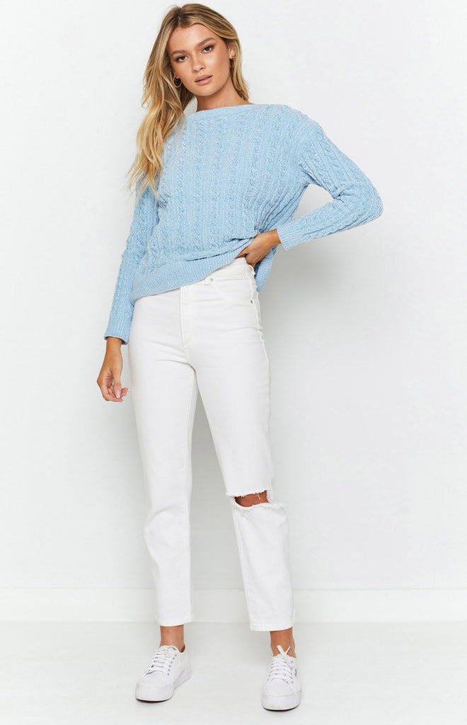 The Alps Cable Knit Jumper Blue 4