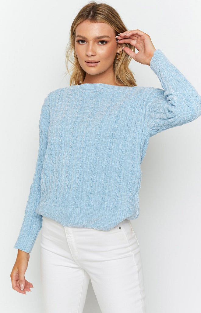The Alps Cable Knit Jumper Blue 5