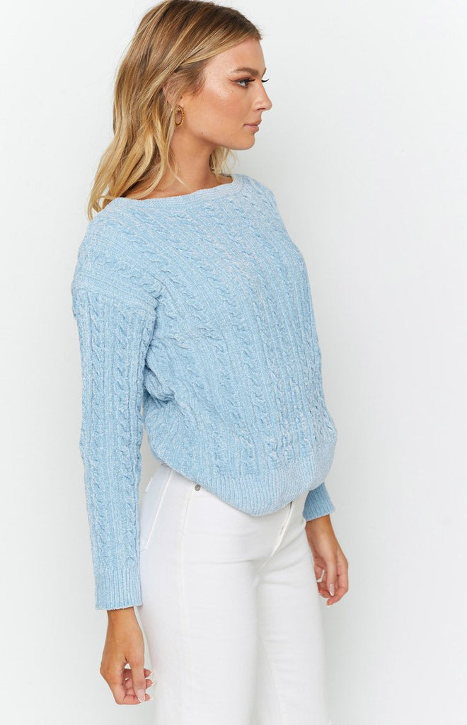 The Alps Cable Knit Jumper Blue 6