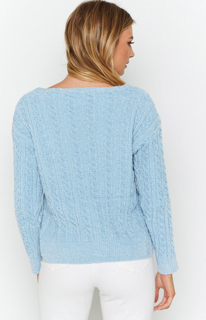 The Alps Cable Knit Jumper Blue 7