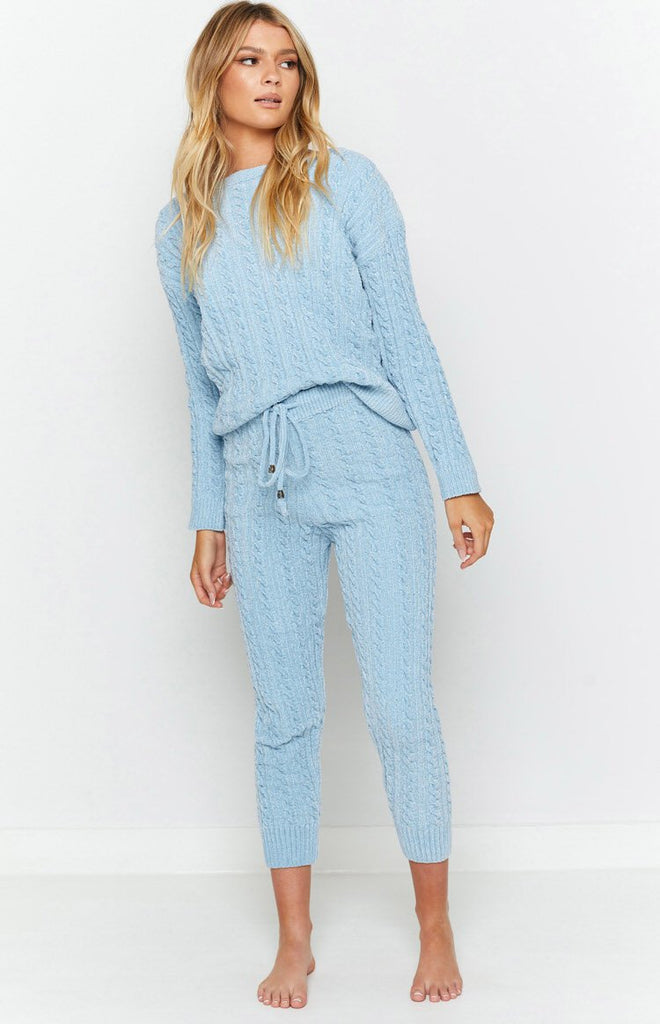 The Alps Cable Knit Jumper Blue 9