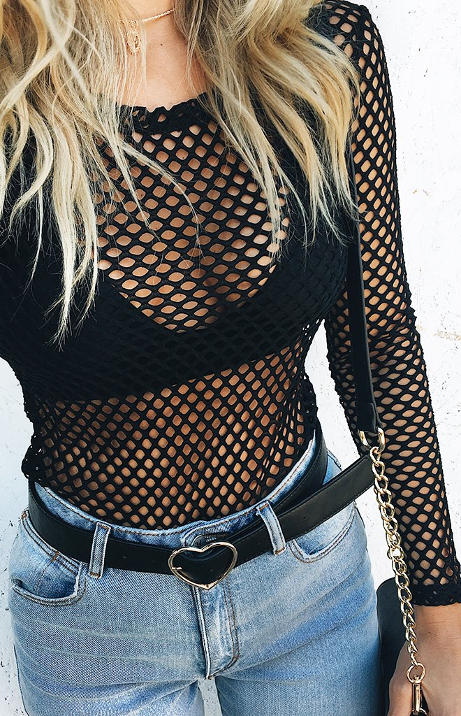 Castaway Fishnet Top Black