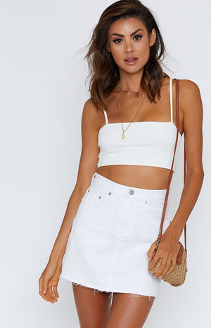 Ziggy Denim Kick Skirt White