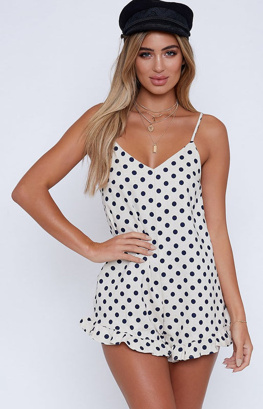 Shine For You Playsuit White Polka