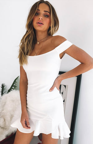 Abigail Off Shoulder Dress White
