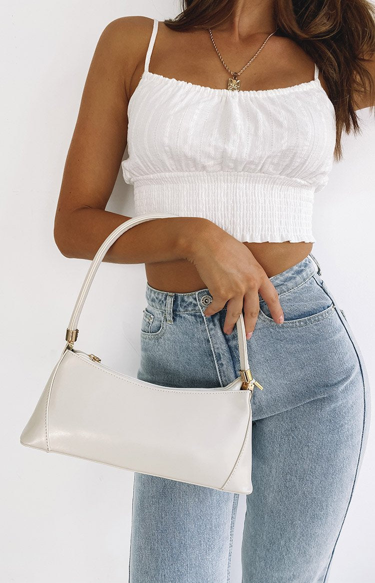 Eclat Haney Gold Detail Handbag White