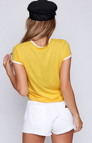 Afends Rebellious Standard Fit Ringer Tee Lemon and White