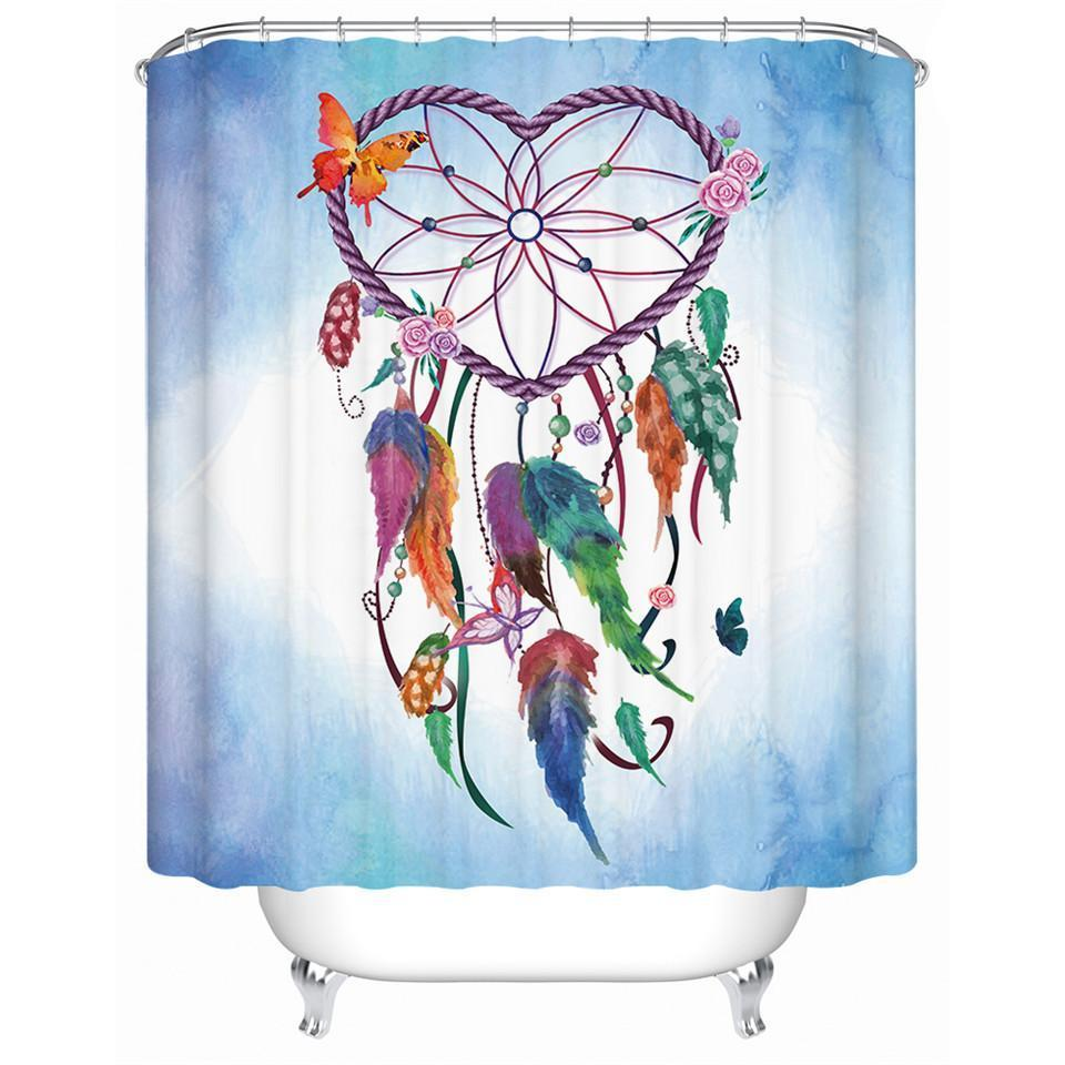 Heart Dreamcatcher Butterflies Shower Curtain