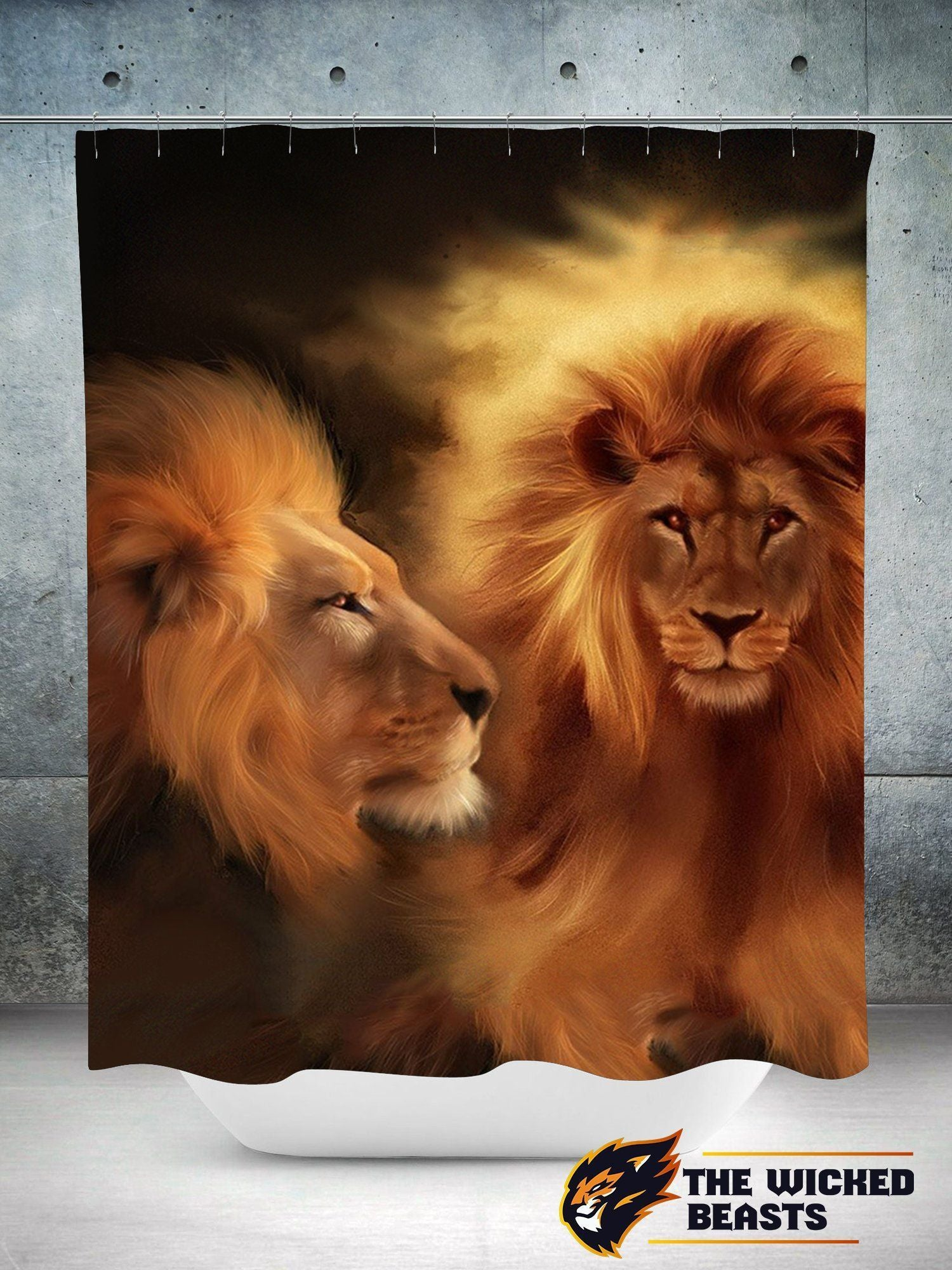 Two Sides Of A Lion Shower Curtain