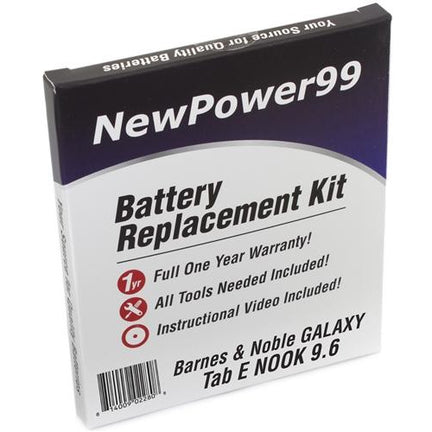 "Samsung GALAXY Tab E Nook 9.6"" Battery Replacement Kit with Tools, Video Instructions, Extended Life Battery and Full One Year Warranty - NewPower99 CANADA"