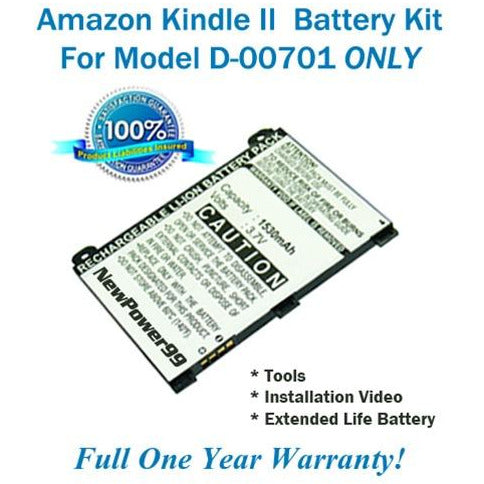 Amazon Kindle 2 - D00701 Battery Replacement Kit with Tools, Video Instructions, Extended Life Battery and Full One Year Warranty - NewPower99 CANADA