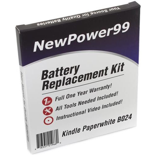 Amazon Kindle Paperwhite B024 Battery Replacement Kit with Tools, Video Instructions, Extended Life Battery and Full One Year Warranty - NewPower99 CANADA