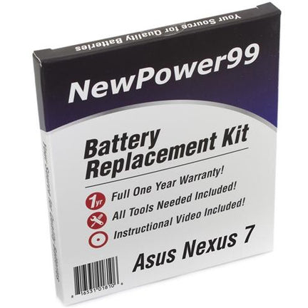 Asus Nexus 7 Battery Replacement Kit with Tools, Video Instructions, Extended Life Battery and Full One Year Warranty - NewPower99 CANADA