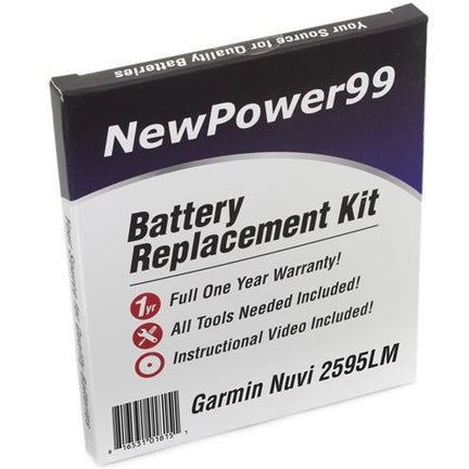 Garmin Nuvi 2595LM Battery Replacement Kit with Tools, Video Instructions, Extended Life Battery and Full One Year Warranty - NewPower99 CANADA