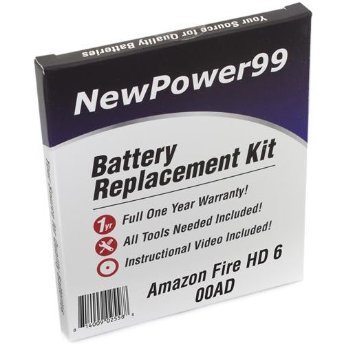 Amazon Fire HD 6 00AD Battery Replacement Kit with Tools, Video Instructions, Extended Life Battery and Full One Year Warranty - NewPower99 CANADA
