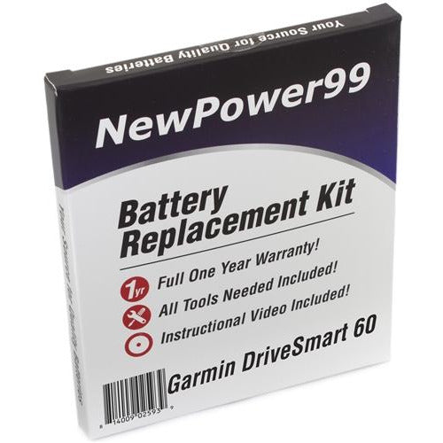 Garmin DriveSmart 60 Battery Replacement Kit with Special Installation Tools, Extended Life Battery and Full One Year Warranty - NewPower99 CANADA