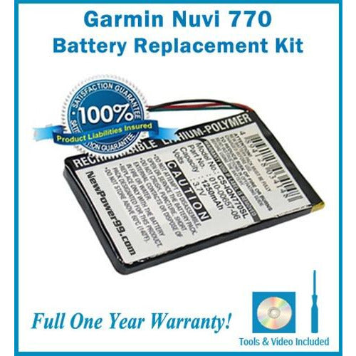 Garmin Nuvi 770 Battery Replacement Kit with Tools, Video Instructions, Extended Life Battery and Full One Year Warranty - NewPower99 CANADA