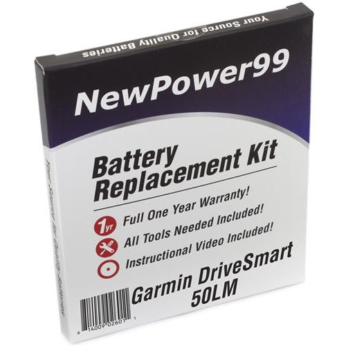 Garmin DriveSmart 50LM Battery Replacement Kit with Tools, Video Instructions, Extended Life Battery and Full One Year Warranty - NewPower99 CANADA