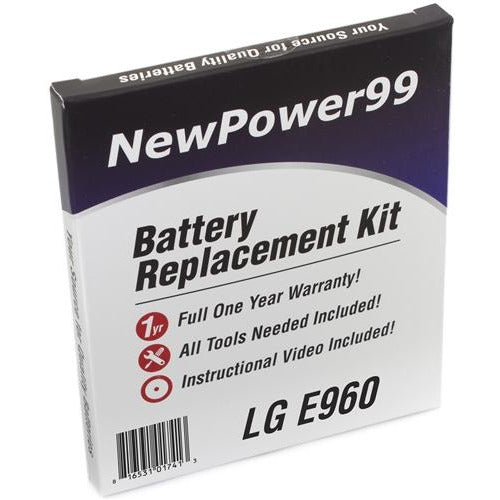 LG E960 Battery Replacement Kit with Tools, Video Instructions, Extended Life Battery and Full One Year Warranty - NewPower99 CANADA