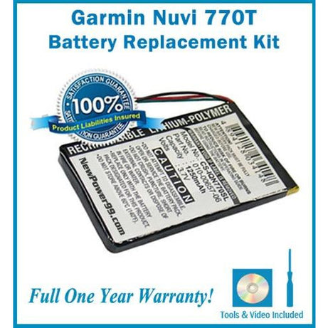 Battery Replacement Kit For The Garmin Nuvi 770T GPS - NewPower99 CANADA