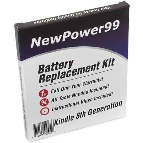 Kindle 8th Generation Battery Replacement Kit with Tools, Video Instructions, Extended Life Battery and Full One Year Warranty - NewPower99 CANADA