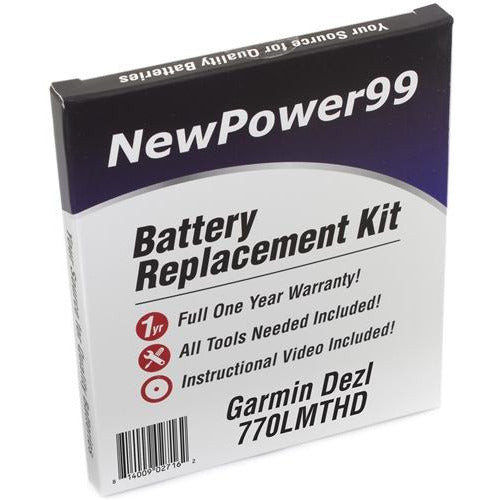 Garmin Dezl 770LMTHD Battery Replacement Kit with Tools, Video Instructions, Extended Life Battery and Full One Year Warranty - NewPower99 CANADA