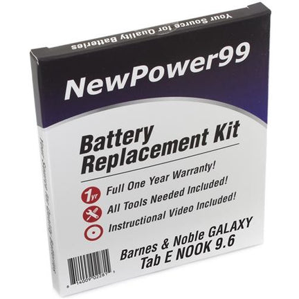 "Barnes & Noble GALAXY Tab E Nook 9.6"" Battery Replacement Kit with Tools, Video Instructions, Extended Life Battery and Full One Year Warranty - NewPower99 CANADA"
