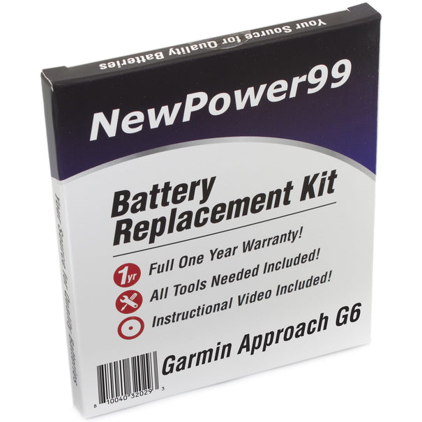 Garmin Approach G6 Battery - Extended Life Battery with Installation Tools and full One Year Warranty