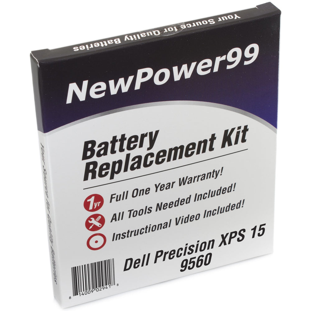 Dell XPS 15 9560 i7-7700HQ Battery Replacement Kit with Tools, Extended Life Battery, Video Instructions, and Full One Year Warranty