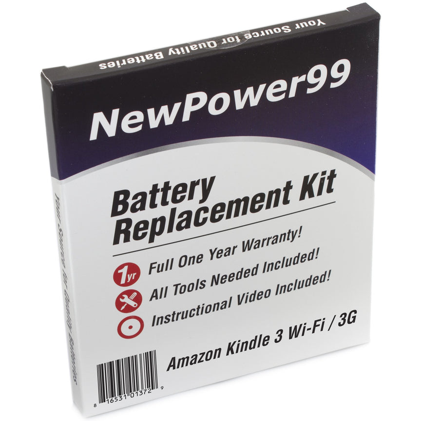 Amazon Kindle 3 Wi-Fi / 3G Battery Replacement Kit with Tools, Video Instructions, Extended Life Battery and Full One Year Warranty - NewPower99 CANADA